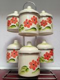 Decorative pots. Old small pot on stand- flower decorated royalty free stock photo