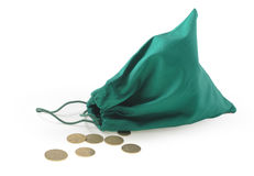 Small pouch with scattered coins Stock Photo