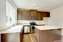 Small yet practical kitchen with brown cabinets and tile marble tops. Northwest, USA stock image