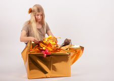 Small present box from a bigger one Stock Photos