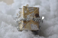 Small present. Box snow package decor decoration background Stock Photos