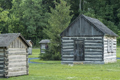 Small preserved log cabin and out buildings Royalty Free Stock Photos