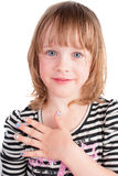 Small Pretty Girl With Fashion Manicure Portrait Royalty Free Stock Images