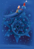 The small prince. On the moon and winter Royalty Free Stock Images