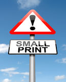 Small print concept. Illustration depicting a roadsign with a small print concept. Sky background Stock Image