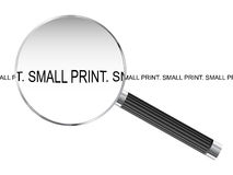 Small Print Magnifying Glass Royalty Free Stock Photos