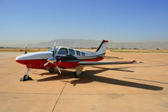 Small private airplane. At the airfield in summer Stock Image