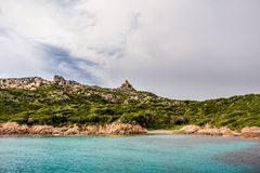 Small private beach on a wild island. Wild life stock photos