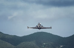 Small private business jet is landing Royalty Free Stock Photography