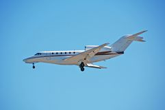 Small private charter jet. Luxurious small jet airplane for business and celebrity travel stock photography