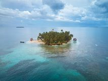 Small private island. Aerial drone view in Nicaragua royalty free stock photography