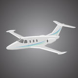 Small private jet vector. Business jet illustration. Luxury twin engine plane Stock Images