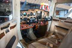 Small private plane pilot cabin with avionics equipment royalty free stock image