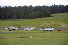 Small private planes parked. On the Mende airfield in the French department of Gard royalty free stock photo