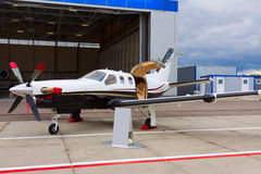 Small private propeller aircraft with one engine Stock Image