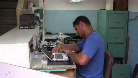 Small private repair shop in Cuba Royalty Free Stock Photo