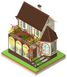 Small private stone house with bay window and roof garden. Isometric 3d isolated on white. Vector illustration royalty free illustration