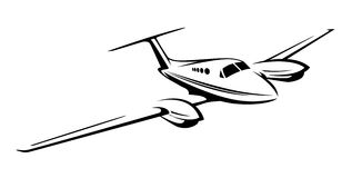 Small private twin engine airplane illustration Royalty Free Stock Image