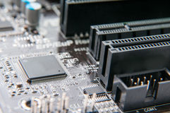 Small processor. In detail on the motherboard Stock Images