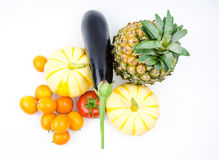 Small pumpkin, oranges and eggplant   Stock Photo