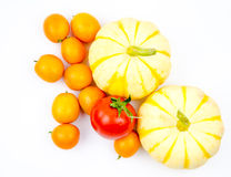 Small pumpkin, oranges and tomatoes Royalty Free Stock Image