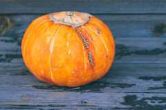 A small pumpkin on a wooden background Stock Photo