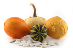 Small pumpkins isolated Royalty Free Stock Images