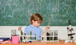 Small pupil learning chemistry in school. Chemistry laboratory. Practical knowledge concept. Study grants and royalty free stock photo