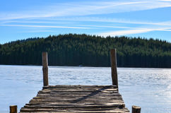 Small quay on an artificial lake in the mountains royalty free stock photos