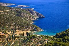 Small quiet bay on greek island. Poros Royalty Free Stock Images