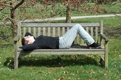 Small quiet nap. On a bench Royalty Free Stock Photos