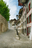 Small quiet street. A small  romantic Swiss street Stock Photos