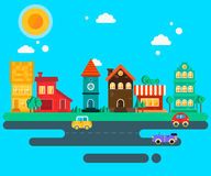 Small quiet town street illustration Stock Image