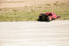 Small radio controlled model car crashed off road Royalty Free Stock Images