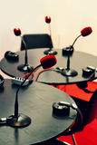 Small Radio Studio with Microphones. And Tables stock images