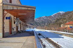 Small railway station in Alps. Royalty Free Stock Photos
