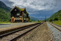 Small railway station, beautiful wooden station building, Norway Stock Photo