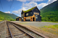 Small railway station, beautiful wooden station building, Norway Royalty Free Stock Image