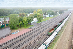 Small railway station and railway route Stock Photo
