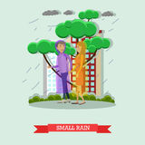 Small rain concept vector illustration in flat style Stock Images