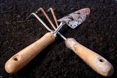 Small rake and shovel Royalty Free Stock Photo