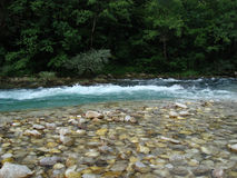Small rapid on river. Rapid on Neretva river with clean drinking water, Bosnia and Herzegovina stock photo
