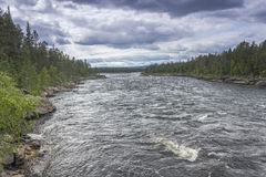 Small rapids. In the Finnish Lapland royalty free stock photos