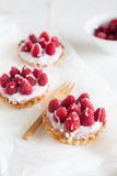 Small raspberry tartlettes stock photo