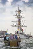 Small recreation boat is sailing during the great nautical event SAIL 2015. Royalty Free Stock Images