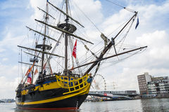 Small recreation boat is sailing during the great nautical event SAIL 2015. Stock Photo