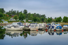 Small recreational motor boats at Norway village Royalty Free Stock Photography