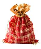 Small red bag. Christmas bag with present. Isolated on white Stock Photos