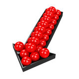 Small red balls. In the big black arrow Royalty Free Stock Photography