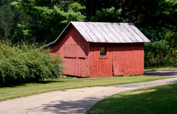 Small red barn and chicken coop Stock Photos